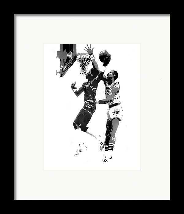 Basketball Framed Print featuring the painting Dr. J And Kareem by Ferrel Cordle