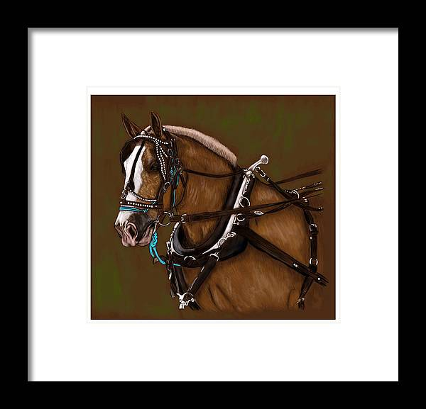 Draft Framed Print featuring the digital art Draft Horse by Simona Veisman