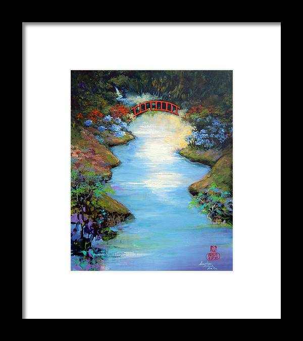 Streams Framed Print featuring the painting Dragon Bridge by Caroline Patrick