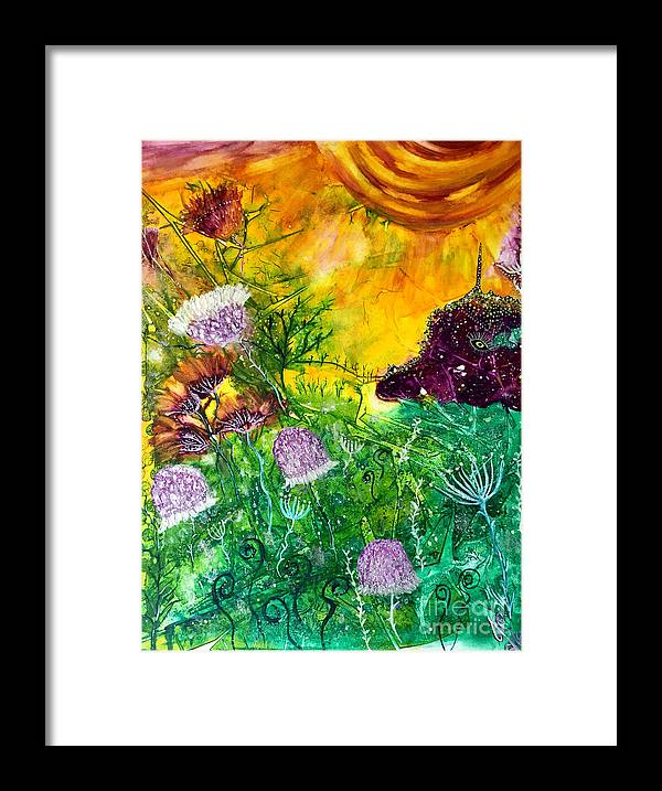 Dragon Framed Print featuring the painting Dragon Daze by Julie Engelhardt