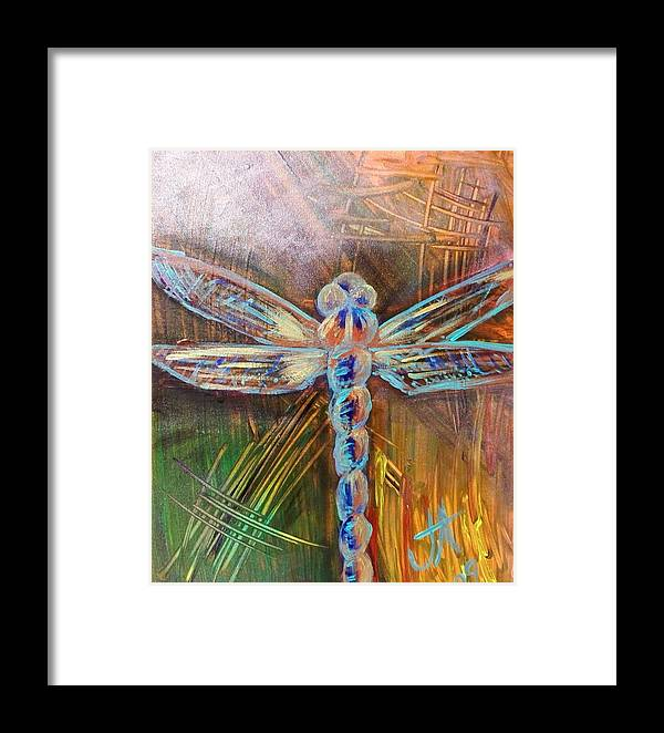 Dragon Fly Framed Print featuring the painting Dragon Fly 1 by Jennifer Addington