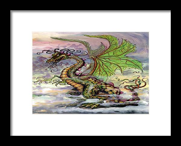 Dragon Framed Print featuring the painting Dragon by Kevin Middleton