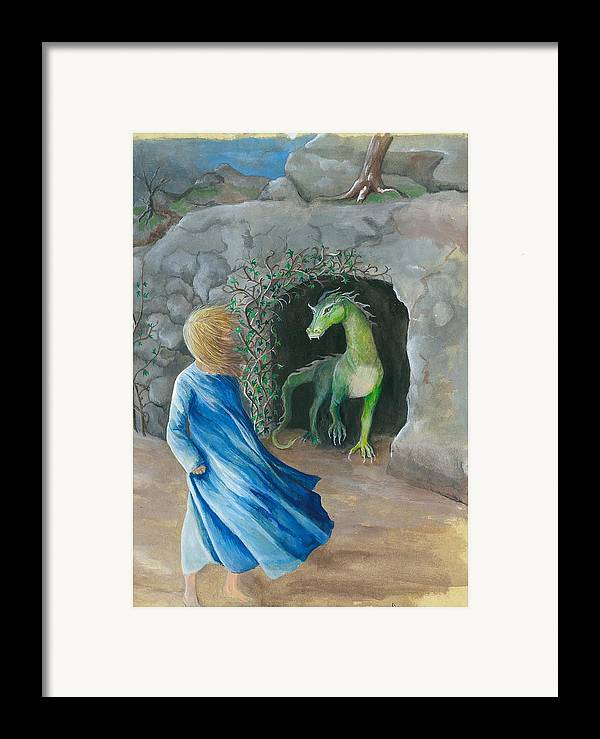 Dragon Framed Print featuring the painting Dragon Princess 1 by Sally Balfany