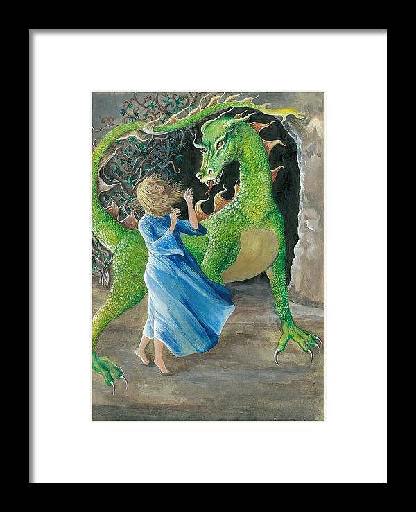 Dragon Framed Print featuring the painting Dragon Princess 2 by Sally Balfany