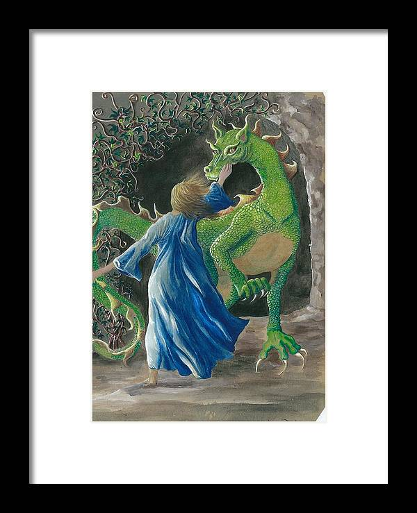 Dragon Framed Print featuring the painting Dragon Princess 3 by Sally Balfany