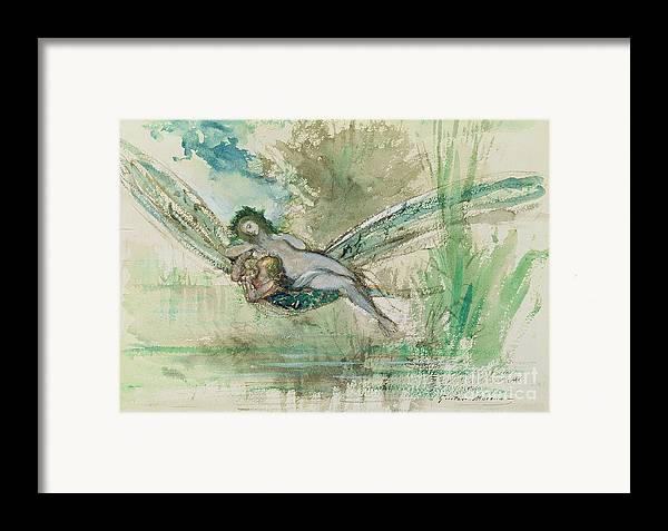 Dragonfly Framed Print featuring the painting Dragonfly by Gustave Moreau