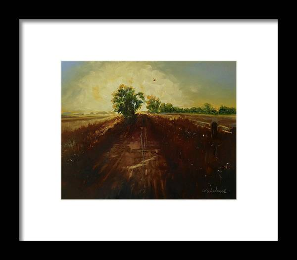 Landscape Framed Print featuring the painting Dragonfly On Maggie's Farm by Walter Weaver
