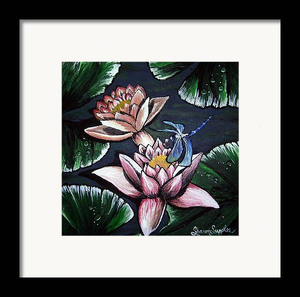 Dragonfly Framed Print featuring the painting Dragonfly Pond by Sharon Supplee