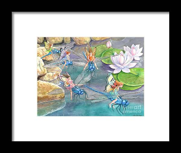 Dragonfly Framed Print featuring the painting Dragonfly Races by Ann Gates Fiser