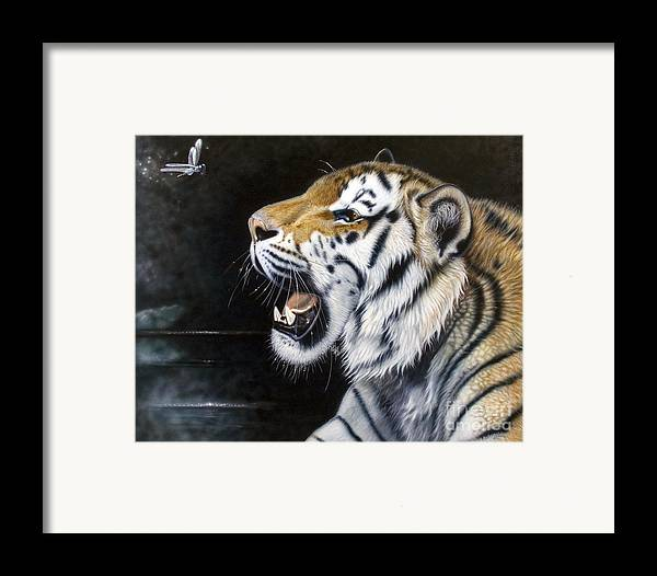 Tiger Framed Print featuring the painting Dragonfly by Sandi Baker