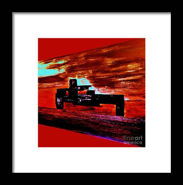 Paint Framed Print featuring the painting Dragster At The Strip by Marsha Heiken