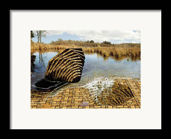 Drain Framed Print featuring the digital art Drain - Mendon Ponds by Peter J Sucy