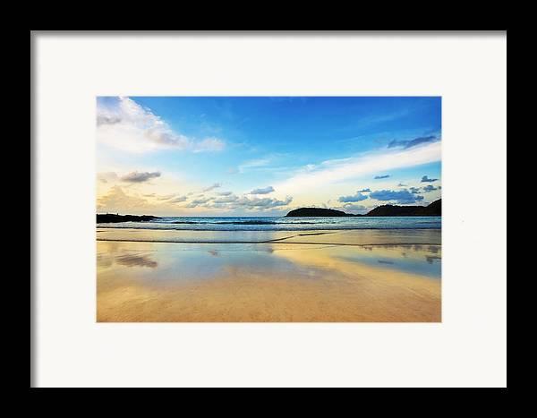Area Framed Print featuring the photograph Dramatic Scene Of Sunset On The Beach by Setsiri Silapasuwanchai