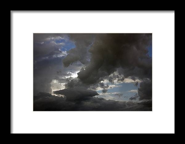 Dramatic Framed Print featuring the digital art Dramatic Storm Clouds Against A Background Of Blue Sky by Christopher Purcell
