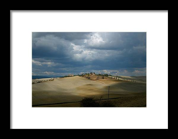 Italy Framed Print featuring the photograph Dramatic Tuscan Landscape by Mathew Lodge