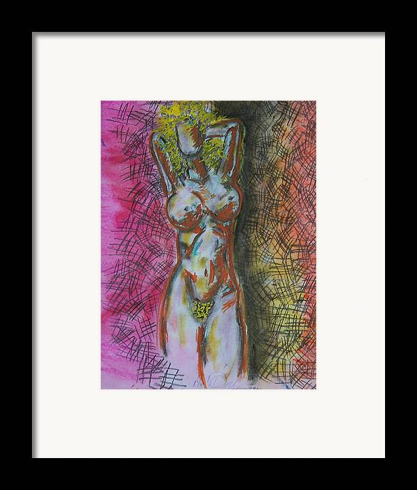 Abstract Framed Print featuring the drawing Drawing Of A Woman by B and C Art Shop
