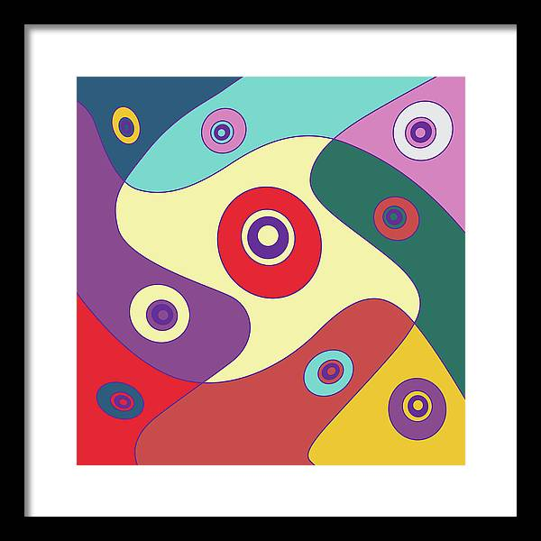 Illustration Framed Print featuring the digital art Drawn2shapes28clr by Maggie Mijares