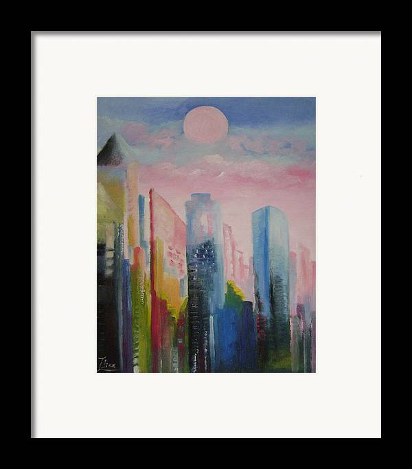 Abstract Framed Print featuring the painting Dream City No.1 by Lian Zhen