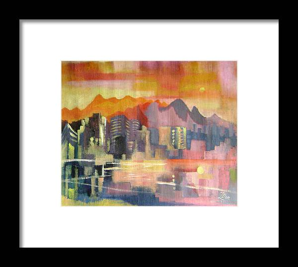 Abstract Framed Print featuring the painting Dream City No.3 by Lian Zhen