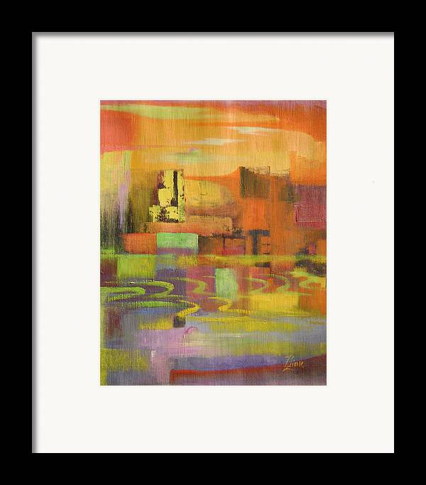 Abstract Framed Print featuring the painting Dream City No.4 by Lian Zhen