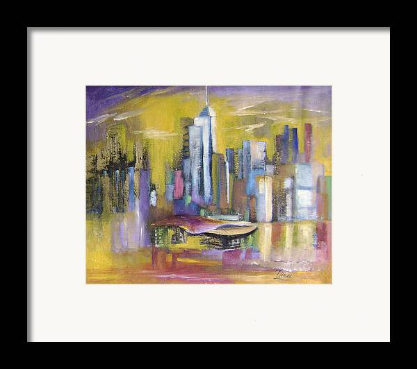 Imaginative Framed Print featuring the painting Dream City No.5 by Lian Zhen