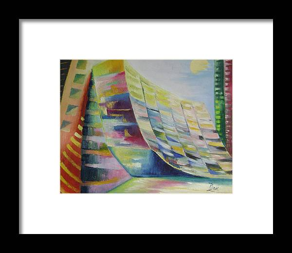 Abstract Framed Print featuring the painting Dream City No.6 by Lian Zhen