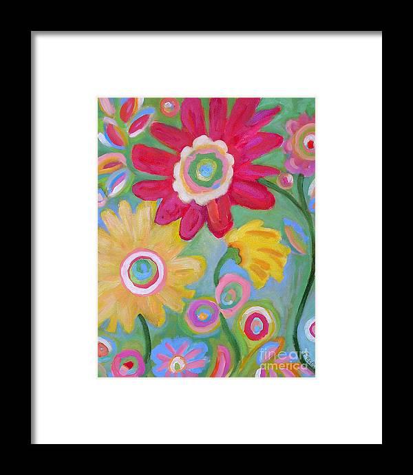Karen Fields Framed Print featuring the painting Dream Flowers by Karen Fields