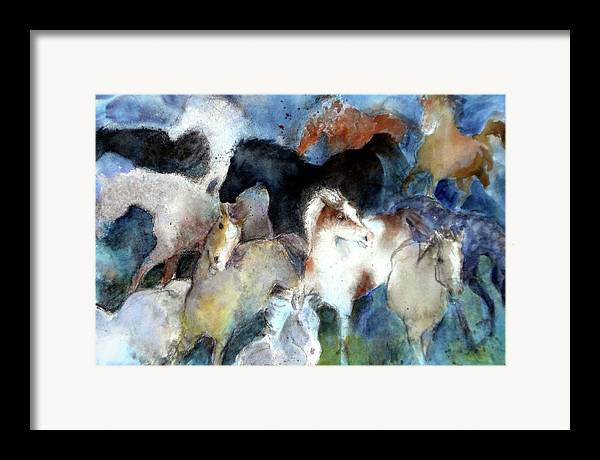 Horses Framed Print featuring the painting Dream Of Wild Horses by Christie Michelsen