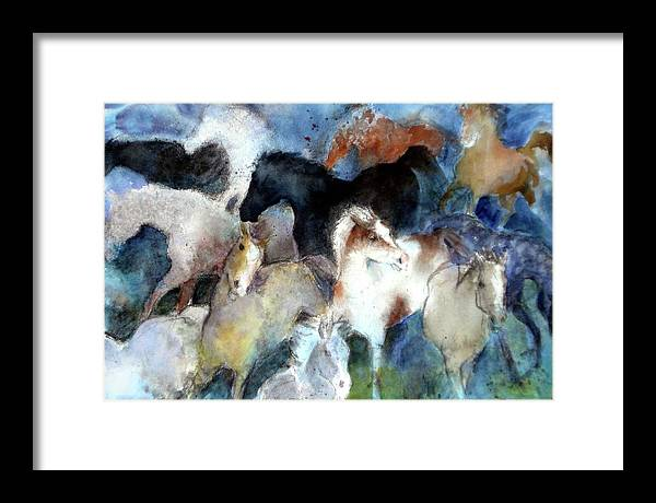 Horses Framed Print featuring the painting Dream Of Wild Horses by Christie Martin