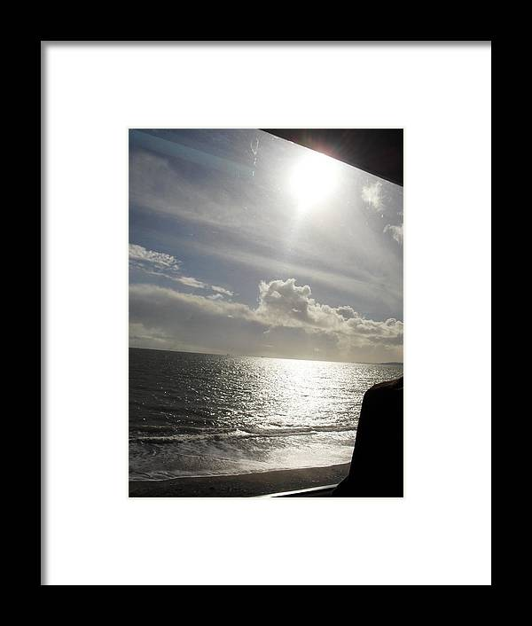Phograph Seaside Sea Sun Light Clouds Framed Print featuring the photograph Dream On The Train by Agnes V