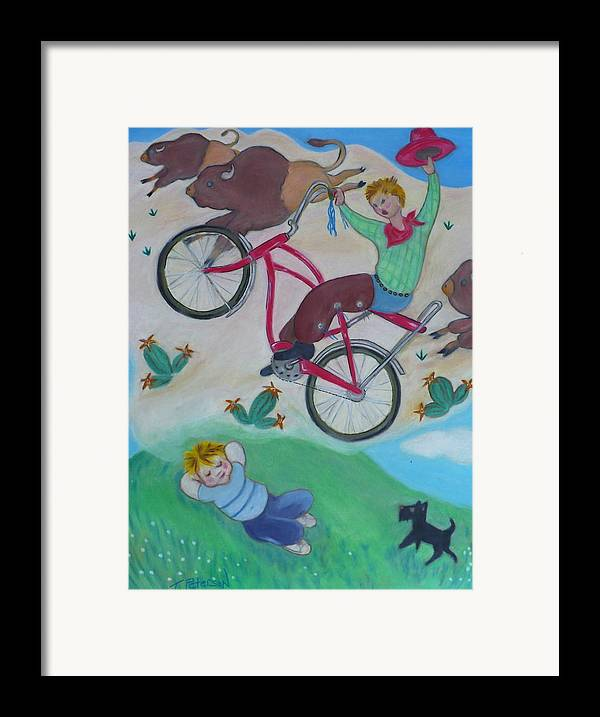 Children Framed Print featuring the painting Dream Ride by Todd Peterson