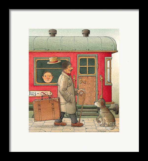 Dream Suitcase Train Trip Travel Framed Print featuring the painting Dream Suitcase by Kestutis Kasparavicius