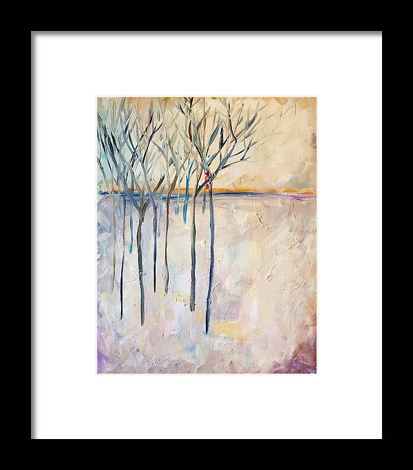 Abstract Framed Print featuring the painting Dream Trees by Delilah Smith