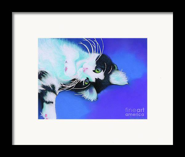 Cat Framed Print featuring the pastel Dreamer by Tracy L Teeter