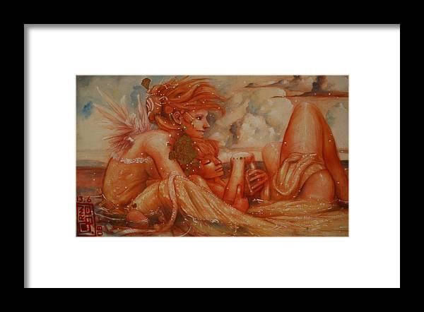 Dreamer Ralph Nixon Jr Framed Print featuring the painting Dreamers At Sandusky Shore by Ralph Nixon Jr