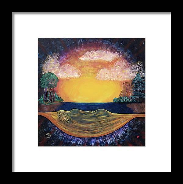 Sunset Golden Goddess Glowing Ocean Horizon Framed Print featuring the painting Dreaming Goddess by Eric Singleton