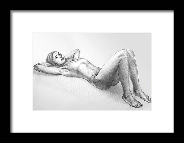 Pencil Framed Print featuring the drawing Dreaming by Natoly Art