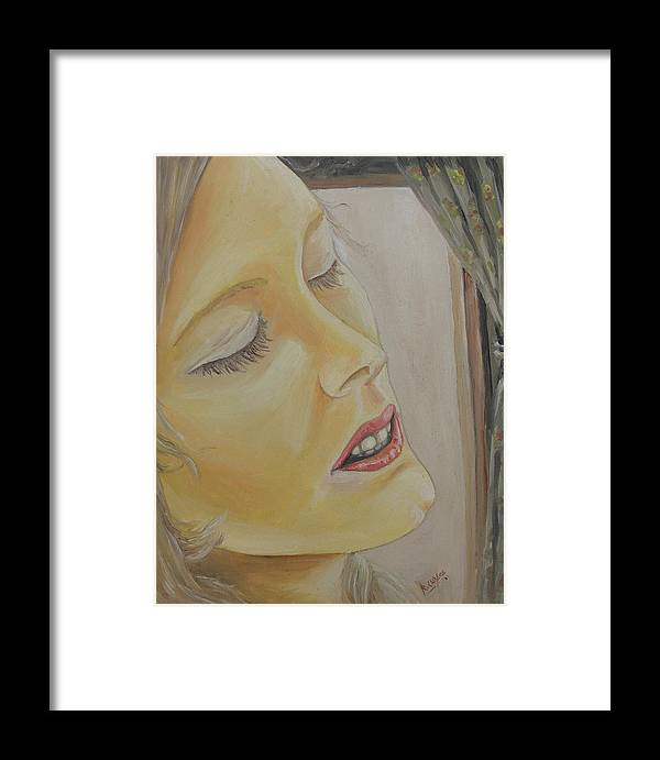 Lady Framed Print featuring the painting Dreaming by Rajesh Chopra