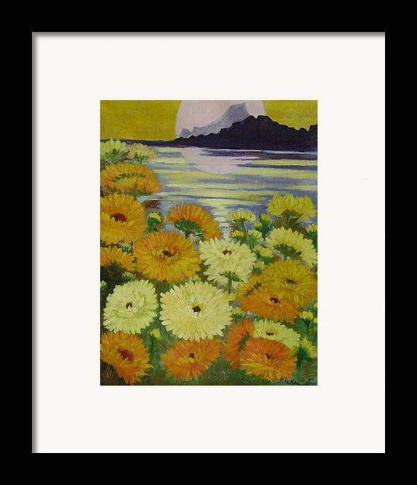 Floral Framed Print featuring the painting Dreamland Flowers by Lian Zhen