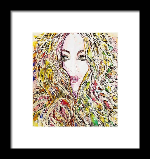 Hair Curls Messy Chaotic Waves Girl Yellow Pink Green Eyes Lips Beauty Gorgeous Blush Woman Girl Face Looking Soft Painting Framed Print featuring the painting Dreams Do Come True by Nicole Vilardo
