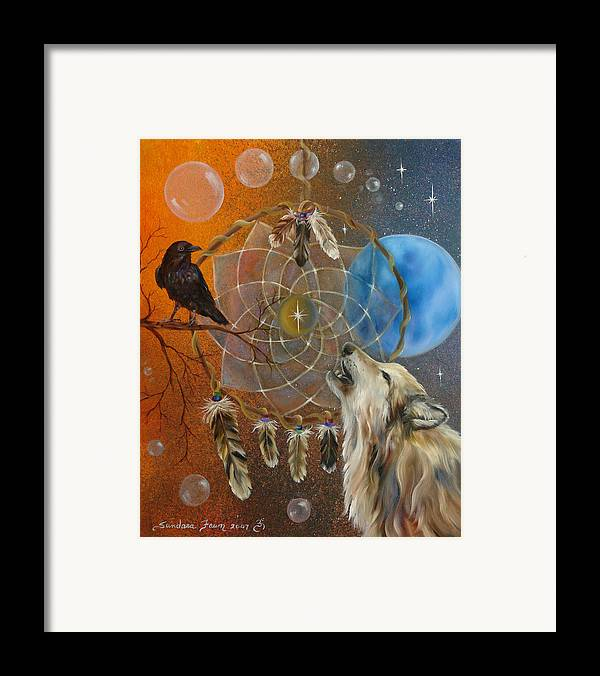 Wolf Framed Print featuring the painting Dreams Made Easy by Sundara Fawn