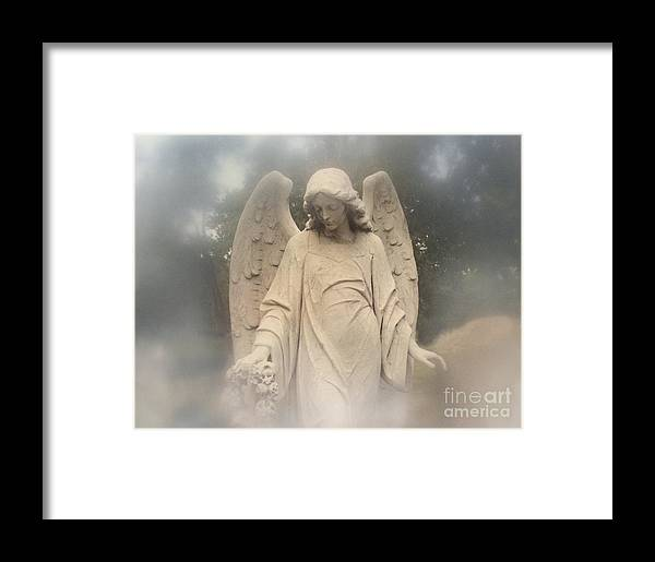 Angel Art Framed Print featuring the photograph Dreamy Surreal Angel Art Fog Cemetery by Kathy Fornal