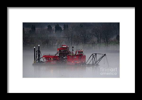 Ohio River Framed Print featuring the photograph Dredge In Fog 2 by Laurence Nuelle