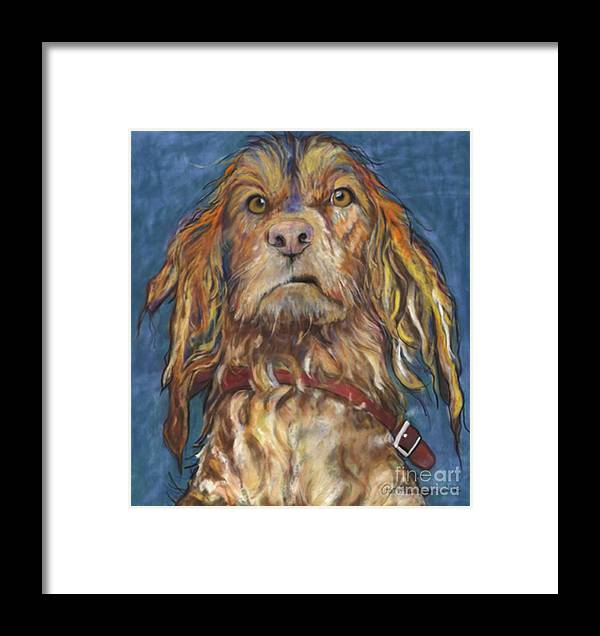 Golden Retriever Painting Framed Print featuring the pastel Drenched by Pat Saunders-White