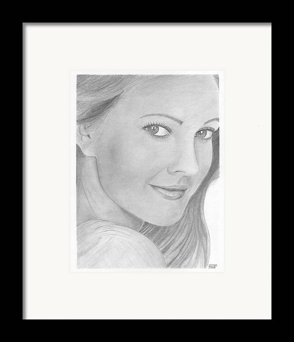 Celebrity Drew Barrymore Framed Print featuring the drawing Drew Barrymore by David Seter