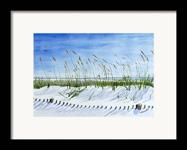 Beach Framed Print featuring the painting Drift Fence Almost Covered by Robert Thomaston