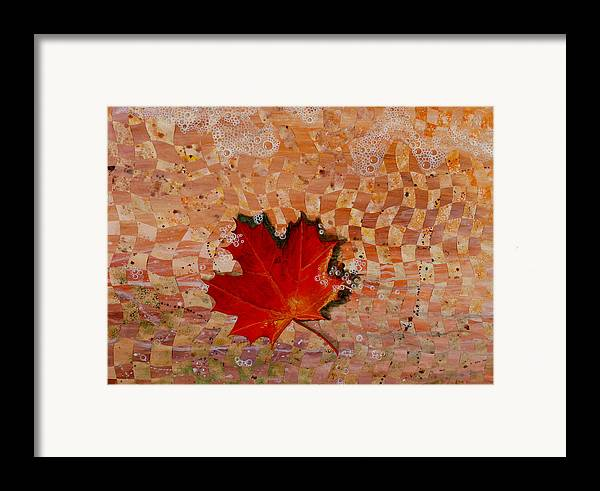 Maple Leave Framed Print featuring the painting Drifting by Linda L Doucette