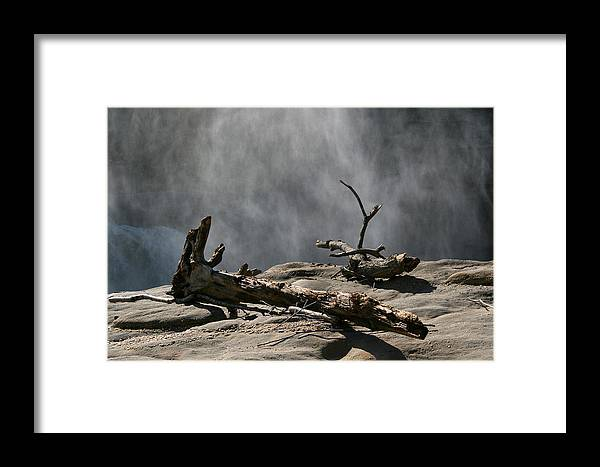 Wood Drift Driftwood Rock Mist Waterfall Nature Sun Sunny Waterful Glow Rock Old Aged Framed Print featuring the photograph Driftwood by Andrei Shliakhau