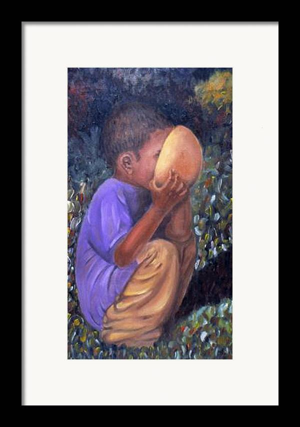 Portrait Framed Print featuring the painting Drinking Boy by Alima Newton