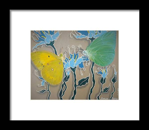Butterflies Framed Print featuring the painting Drinking Coffee At The Blue Orchid by Adrian Ramos